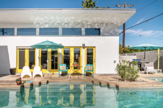 The colors of this home are like wrapping paper: bright, cheery and unabashed (even the exterior doors are painted in a striking yellow). Plus, when guests stay at this open one-bedroom, one-bathroom retreat, they'll leave with a custom gift made by a local artist. This rental includes several amenities such as a pool and bicycles for riding into town.