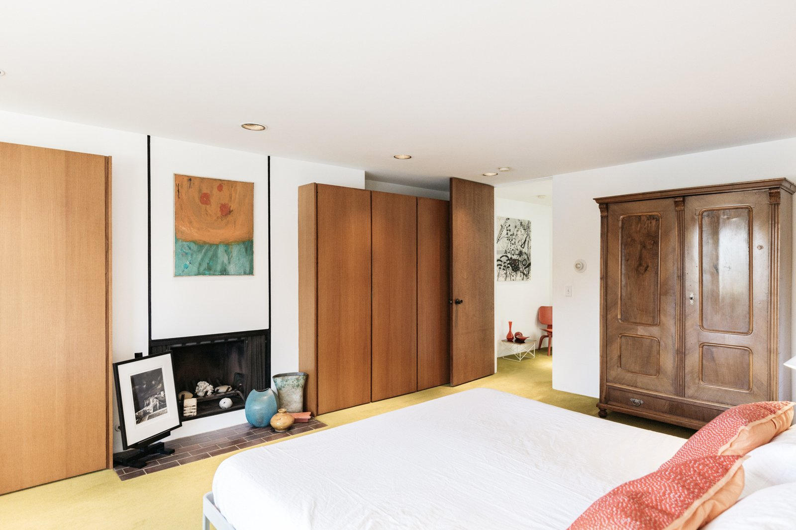 Back inside and downstairs, the master bedroom sits directly beneath the living area.  Photo 11 of 15 in A Luminous L.A. Beach House With All-Original Features Asks $2.3M