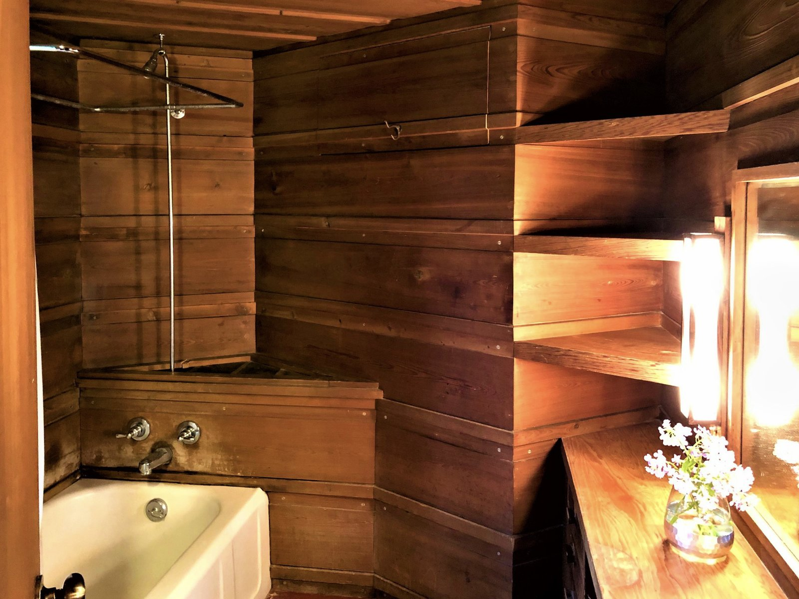 A look at one of three bathrooms.  Photo 8 of 10 in One of Frank Lloyd Wright's First Usonian Houses Hits the Market in Wisconsin for $425K
