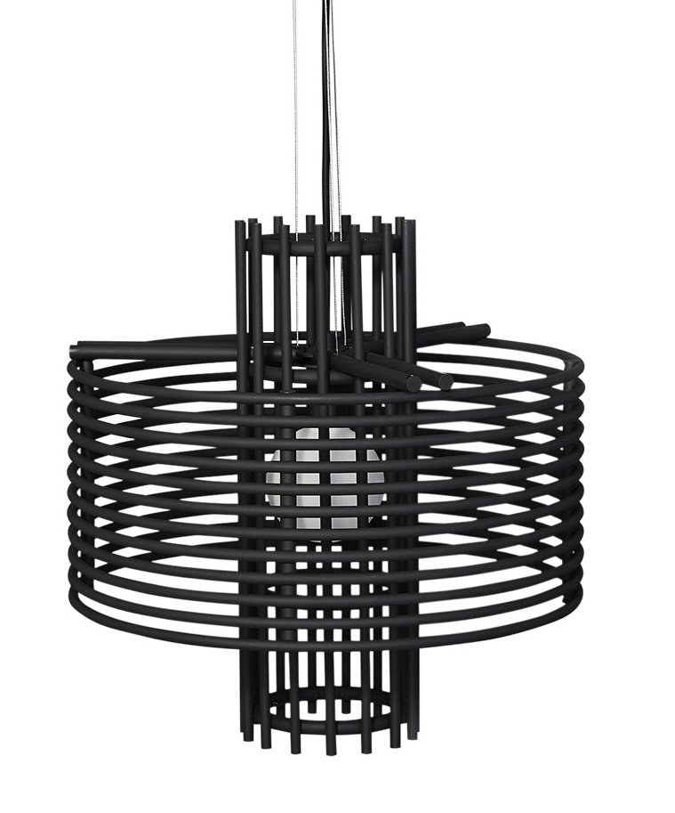 Korean lighting company AGO worked with designer Jinsik Kim to create a pendant that looks like a star trapped in a basket. The orb-like core casts shadows through coated metal rings.   Photo 10 of 10 in Architects Zoe Chan Eayrs and Merlin Eayrs on Creating a Captivating Dining Area
