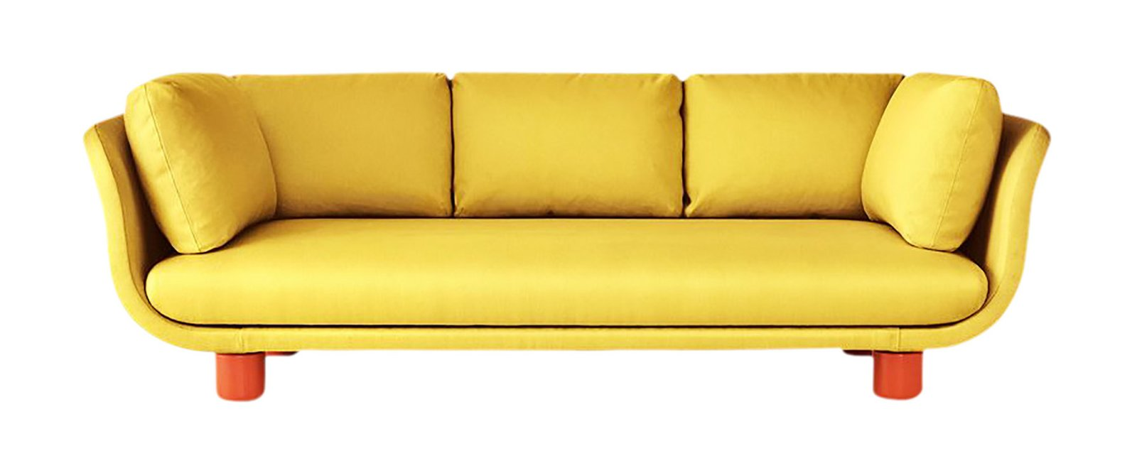 Gabriella Gustafson and Mattias Ståhlbom of Stockholm studio TAF tailored their first sofa for Svenskt Tenn around ways of reducing waste in the production process. We like the yellow, but it also comes in other equally bright colors and daring patterns.  Photo 4 of 8 in Interior Designer Brigette Romanek Teaches Us How to Set the Scene in a Living Room