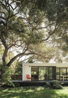 Sliding glass doors and a deck connect the minimalist dwelling to the lush backyard with a giant oak tree. The structure, known as Menlo Park Connect2, was built by Connect Homes.
