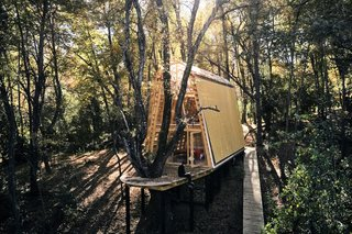 The cabin and back deck are cantilevered over a slope in the property.