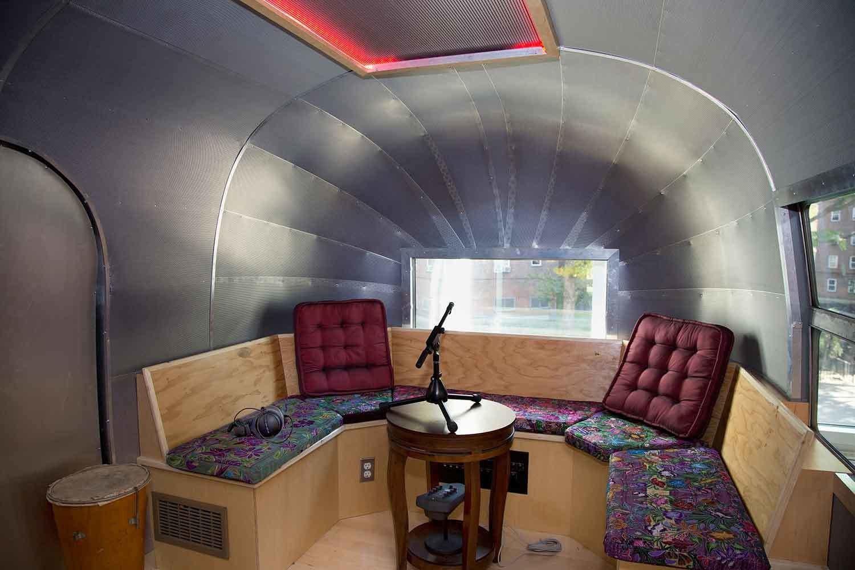 Airstream Recording Studio interior