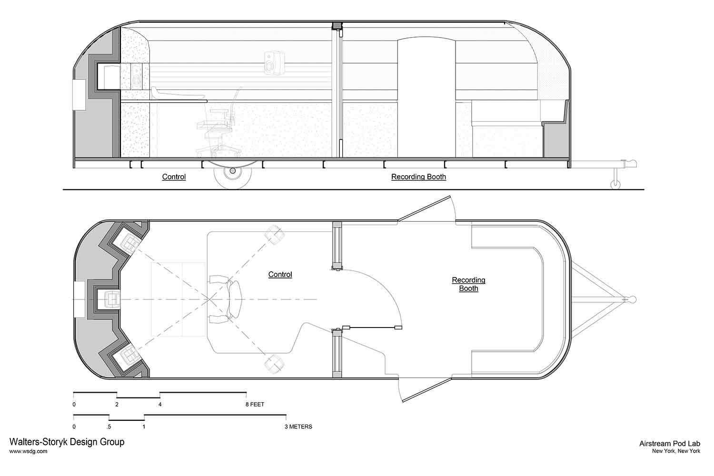 Airstream recording studio floor plan and elevation