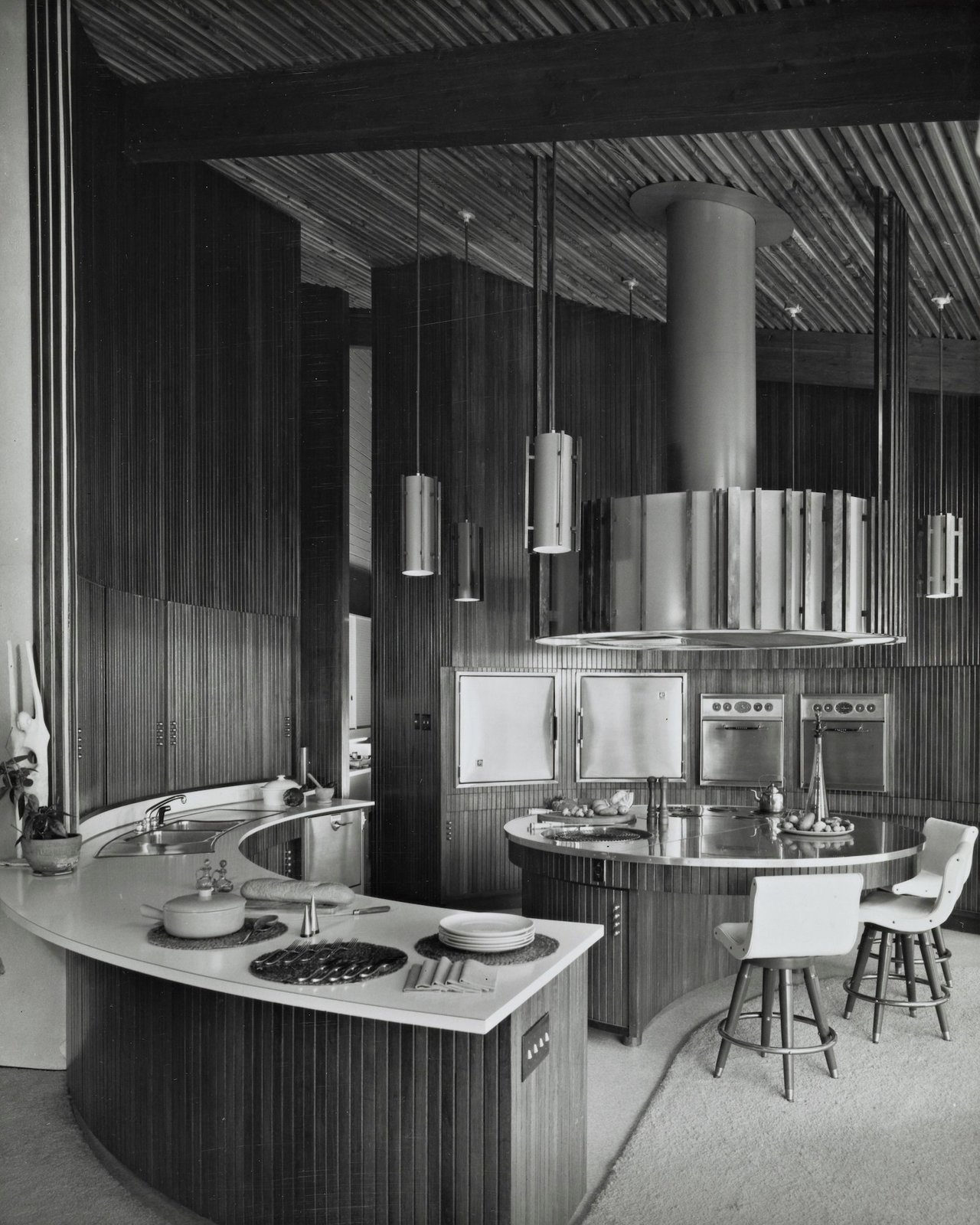 Kitchen A look at the original kitchen provides a better view of the curved walls and cabinetry.  Photo 8 of 16 in A One-of-a-Kind Midcentury Modern Has Resurfaced on the Market to the Tune of $3.5M