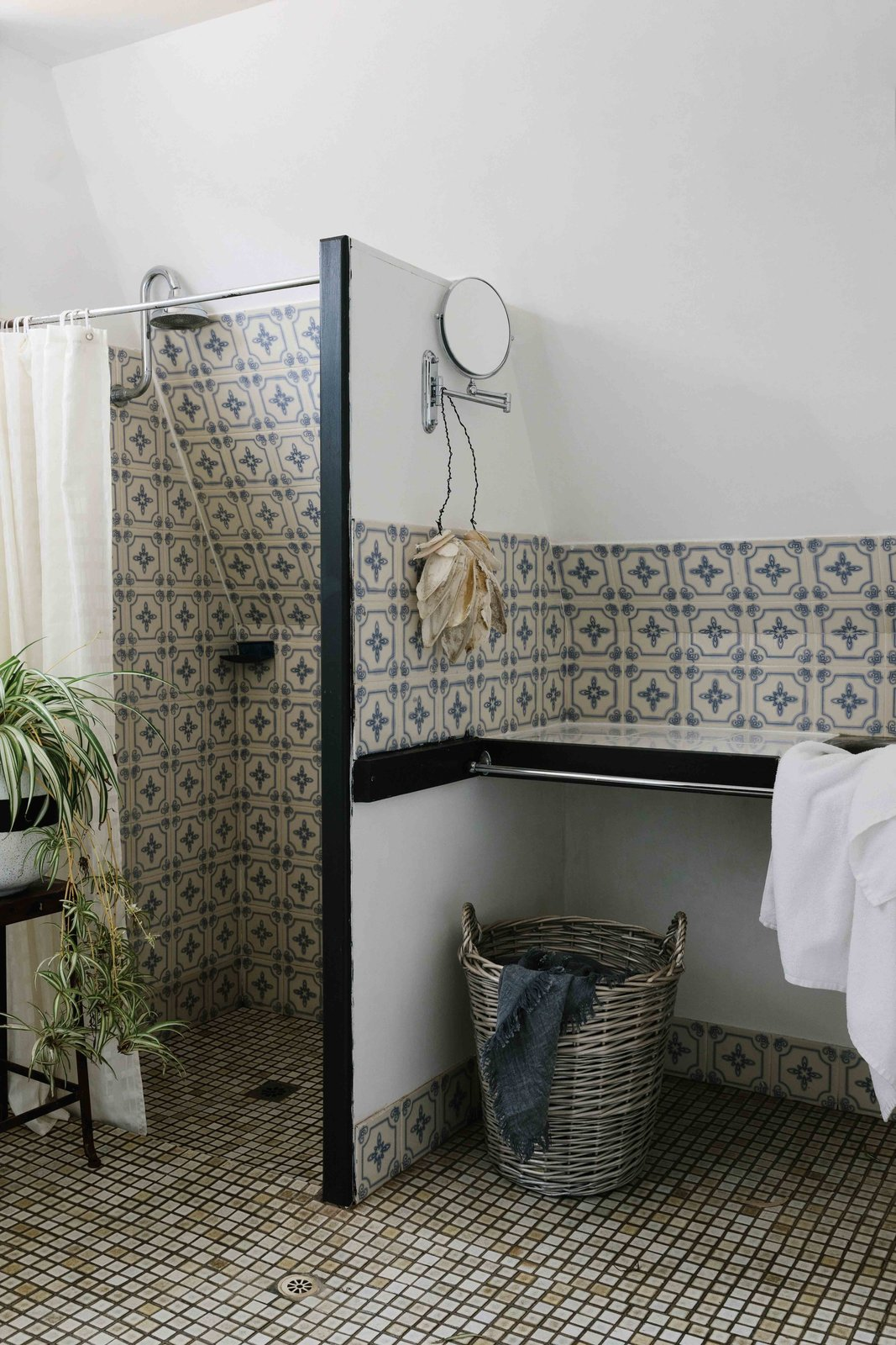 Bath Room, Porcelain Tile Wall, and Porcelain Tile Floor A look at the bathroom, which features antique tile and fixtures.  Photo 6 of 13 in A Cluster of A-Frames Hugs White Sand Dunes on Australia's Southwestern Coast
