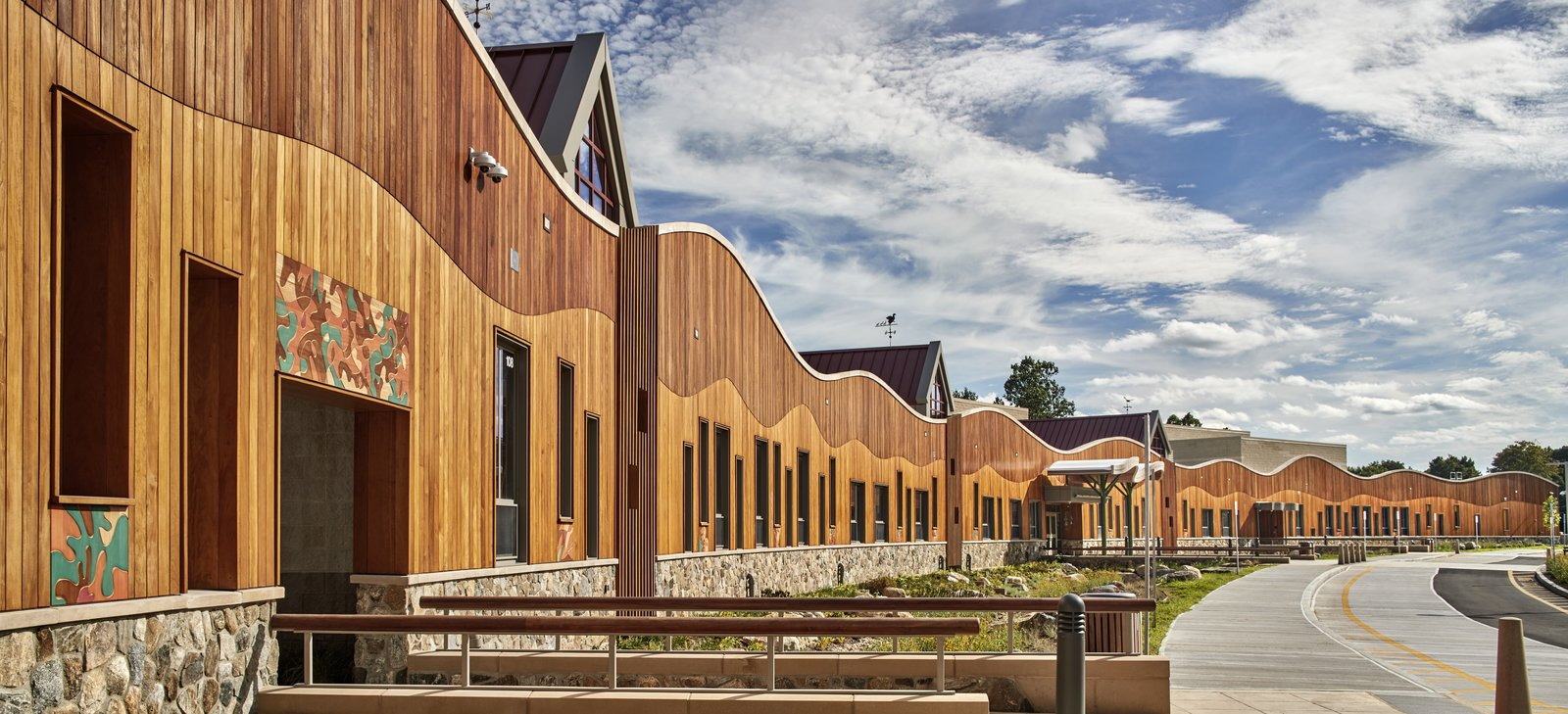 The playful and welcoming exterior of Svigals + Partners' design for the new Sandy Hook Elementary School.  Photo 8 of 9 in In Times of Crisis, Hostile Architecture Poses a Bigger Threat Than Ever