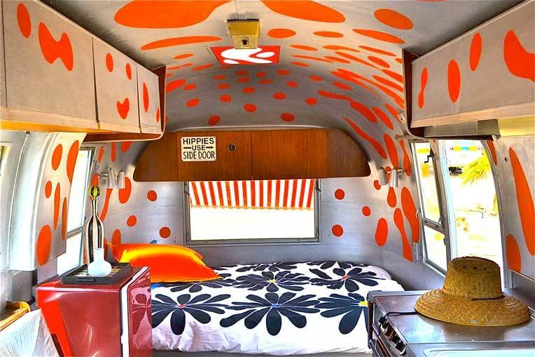 """The """"Hot Lava"""" Airstream sleeps two adults and includes a bathroom and a kitchenette.  Photo 18 of 18 in 17 Kick-Ass Campers and Trailers You Can Rent From $45 a Night"""