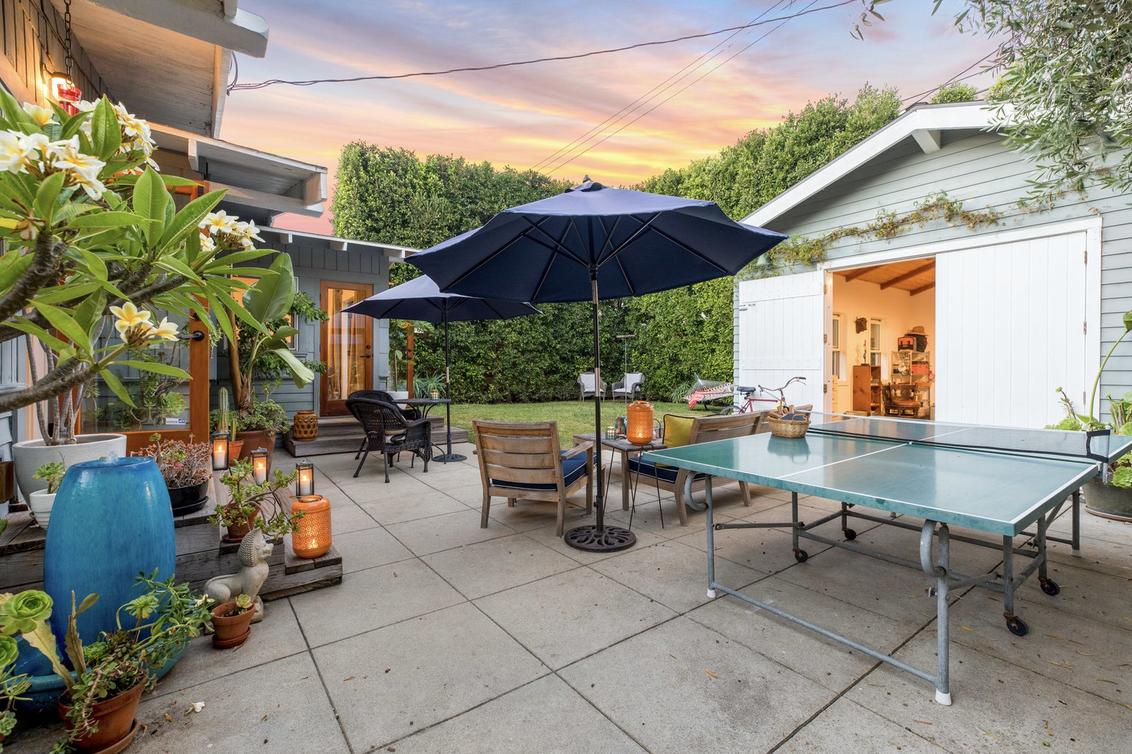 The former garage was converted into a studio space by the creative homeowners.  Photo 13 of 16 in An Artfully Reimagined California Craftsman Asks $1.2M