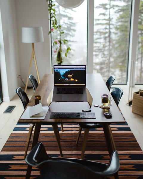 The dining area is also where Alex and Andrea often work on client or personal projects.