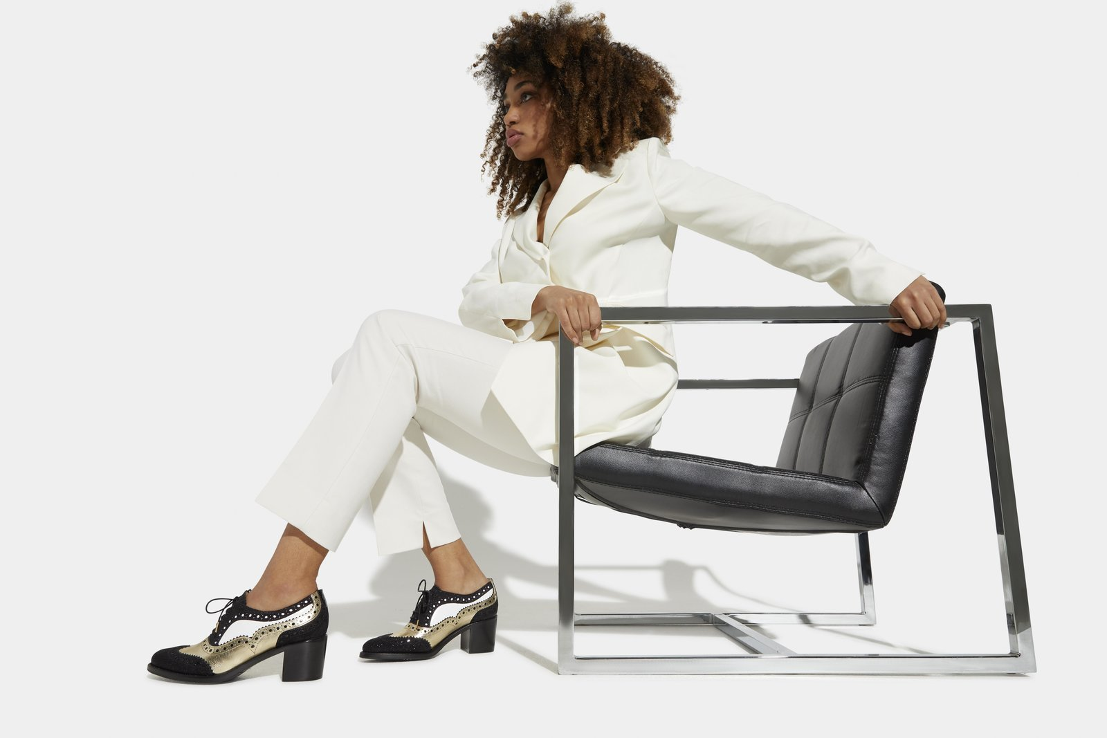 The fall 2020 collection from The Office of Angela Scott honors the ageless beauty and strength of women. Shown here, the Mrs. Doubt Midheel features contrasting shades of leather with intricate brogue details.  Photo 2 of 9 in Q&A: Meet the Designer Determined to Preserve the Traditional Craft of Shoemaking