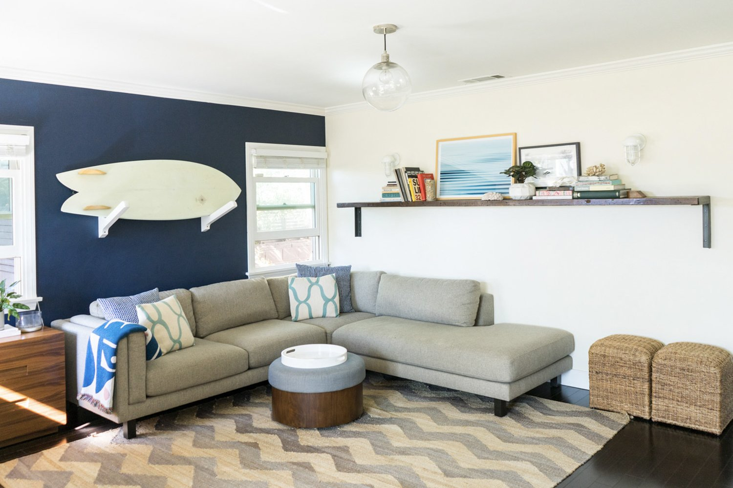 """The front of the home features a combined living/dining area and kitchen, while the home's two bedrooms are located along the back.  Photo 12 of 17 in The """"Surf Shacks"""" Author Lists His Venice Bungalow and Backyard Guesthouse for $1.6M"""