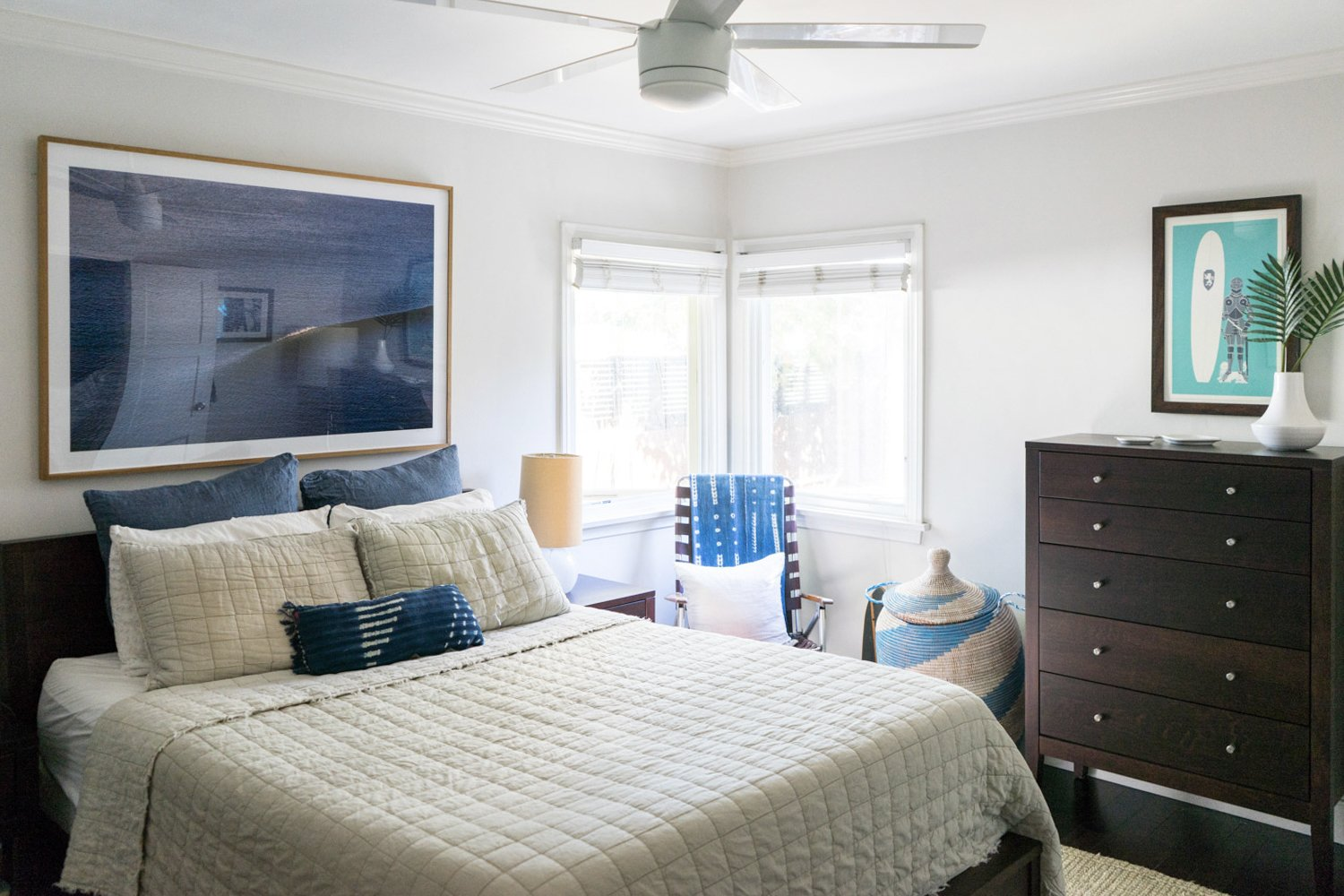 """A look at one of the bungalow's two bedrooms, this one with corner windows for natural light.  Photo 14 of 17 in The """"Surf Shacks"""" Author Lists His Venice Bungalow and Backyard Guesthouse for $1.6M"""