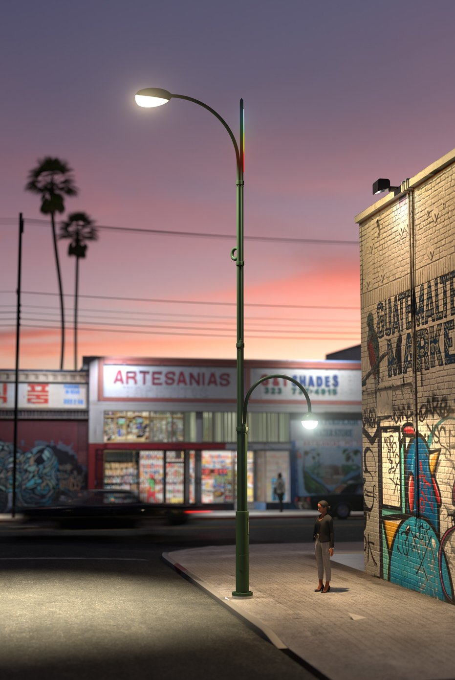 An artists rendering conveys a use case in an L.A. neighborhood, where two offset poles cast broad and varied light. At the top, a rainbow of LED lighting provides ambiance, and can alert of an emergency.  Photo 3 of 7 in Project Room's Winning Streetlight Design Beckons a Brighter Future for Los Angeles