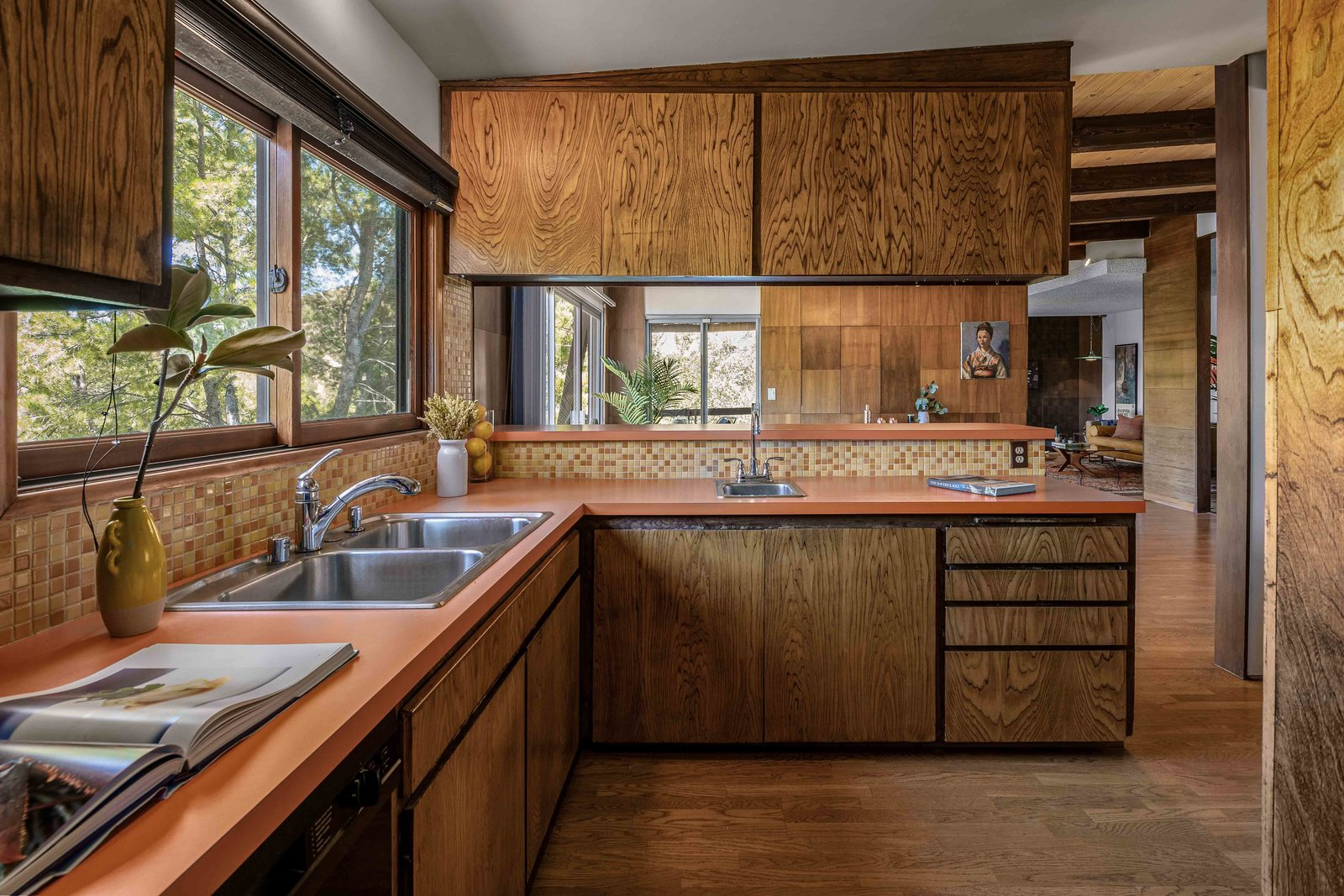 """Another view of the kitchen. Only some fixtures and appliances have been updated since the home's original construction in '68.  Photo 7 of 15 in This $1.2M California Midcentury House Looks Like It Came Straight Out of """"Mad Men"""""""