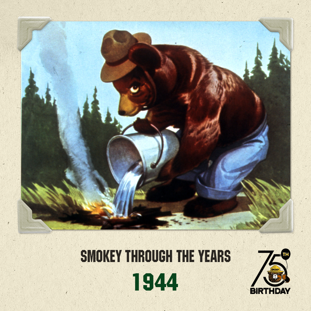 In 1944, Smokey Bear first appears on a forest fire prevention poster.  Photo 3 of 8 in To Combat Raging Wildfires, California Turns to Native American Knowledge