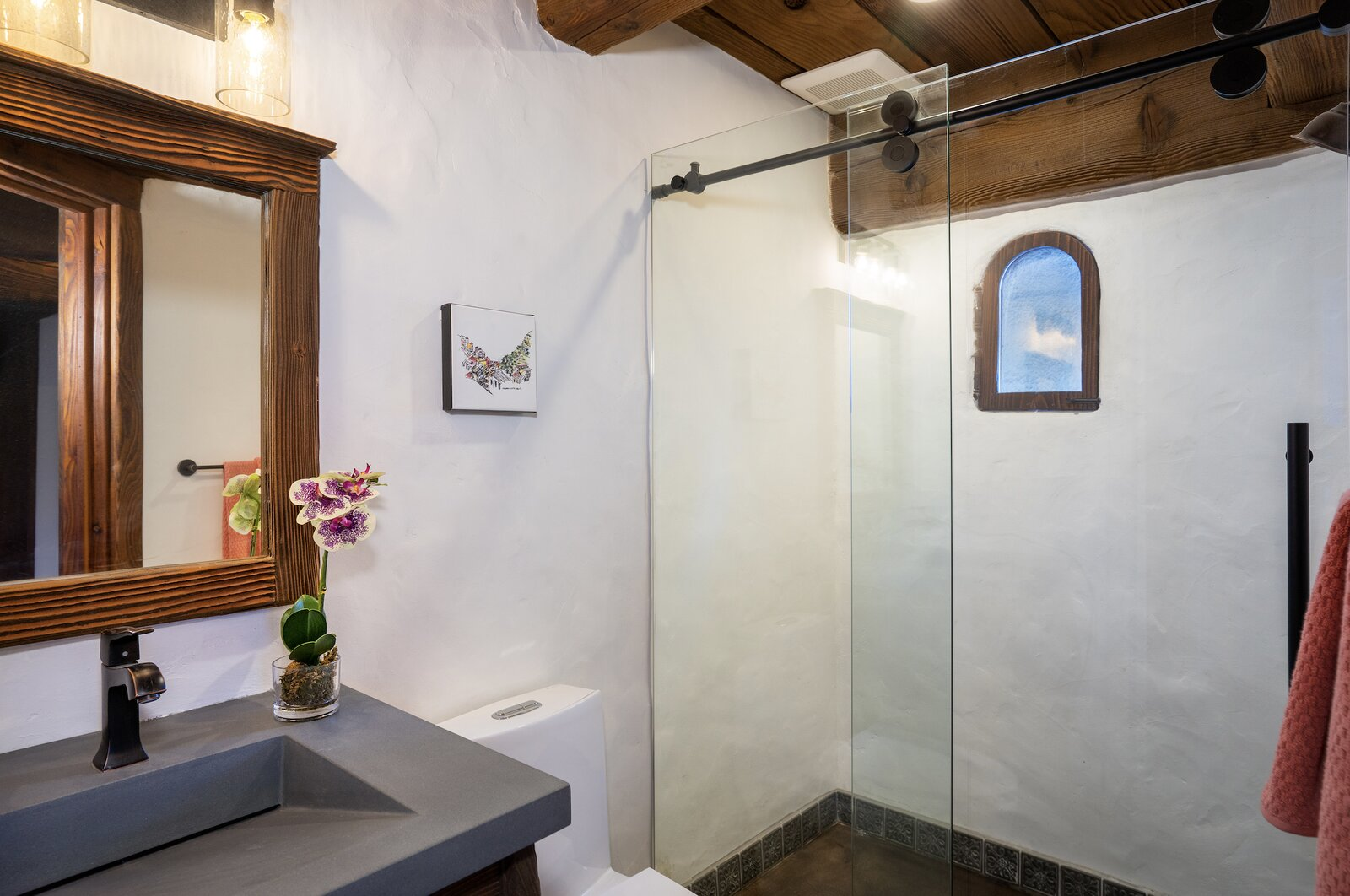 """A look at another of the home's bathrooms—this one with more modern finishes.  Photo 8 of 15 in Listed for $2.65M, This Bavarian-Style """"Snow Haus"""" Near Lake Tahoe Is the Perfect Alpine Escape"""