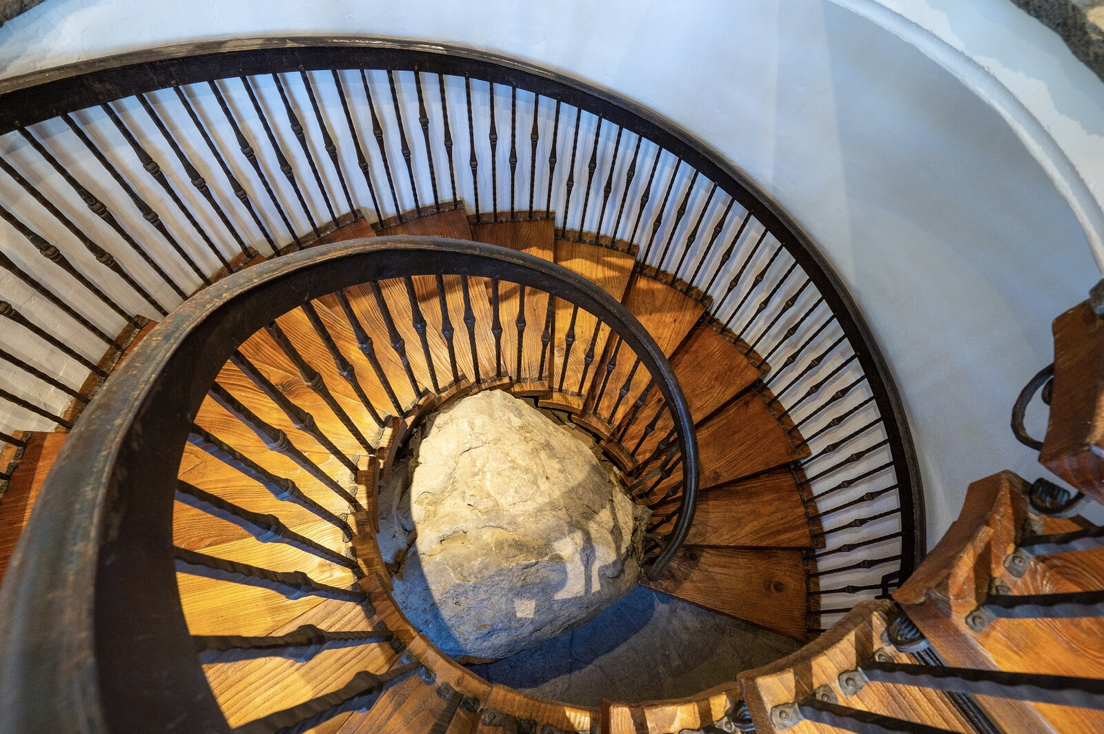 """Another look at the spiral staircase.  Photo 10 of 15 in Listed for $2.65M, This Bavarian-Style """"Snow Haus"""" Near Lake Tahoe Is the Perfect Alpine Escape"""