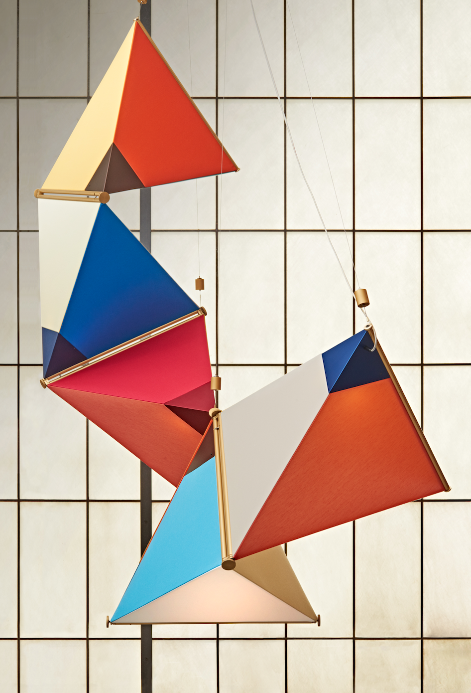 A tetrahedon-based light fixture in the kite collection by James Dieter.  Photo 4 of 9 in Designer to Know: James Dieter