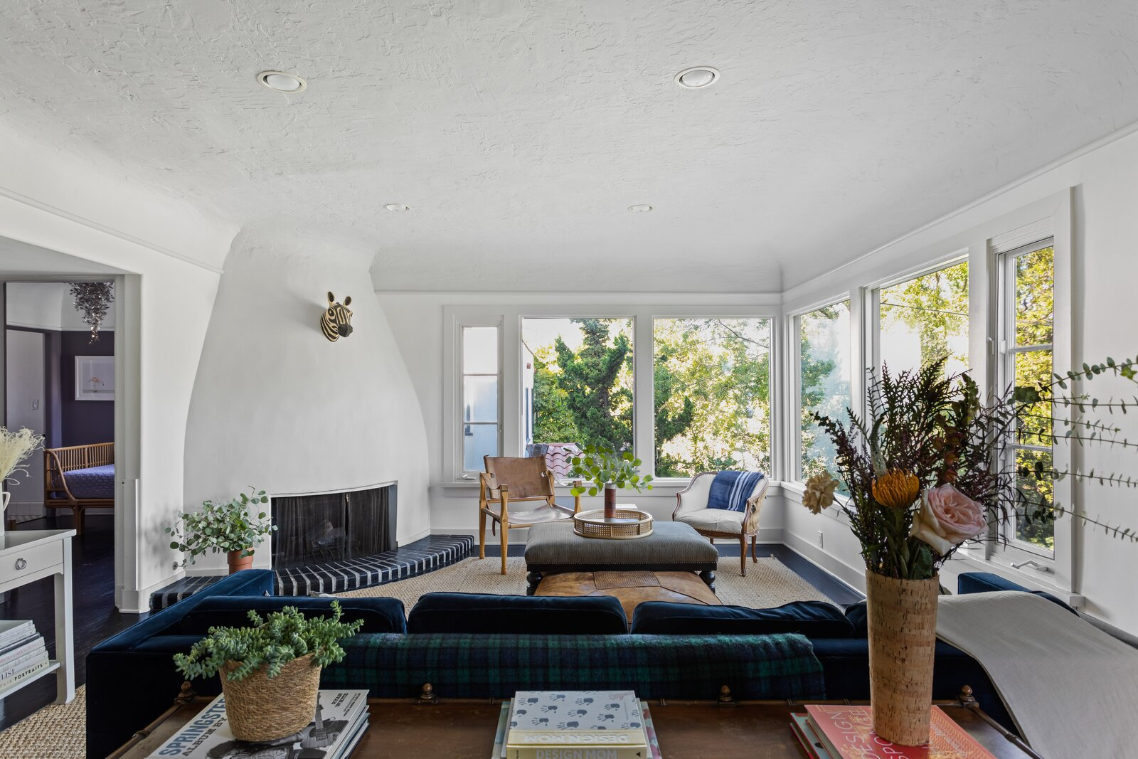 1920s Spanish Revival home living room