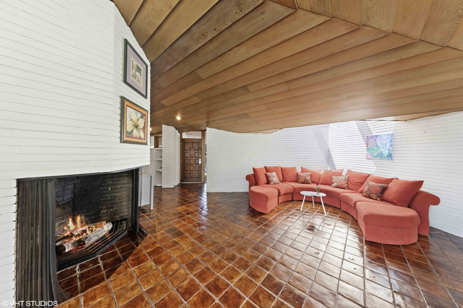 A triangular skylight illuminates one corner in the living area.  Photo 3 of 14 in A Big and Bright Midcentury Home by Frank Lloyd Wright Apprentice Don Erickson Asks $595K