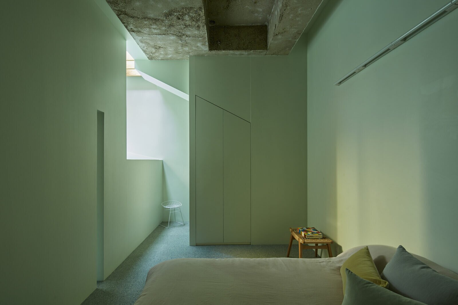 Guest bedroom in the Lost House by David Adjaye