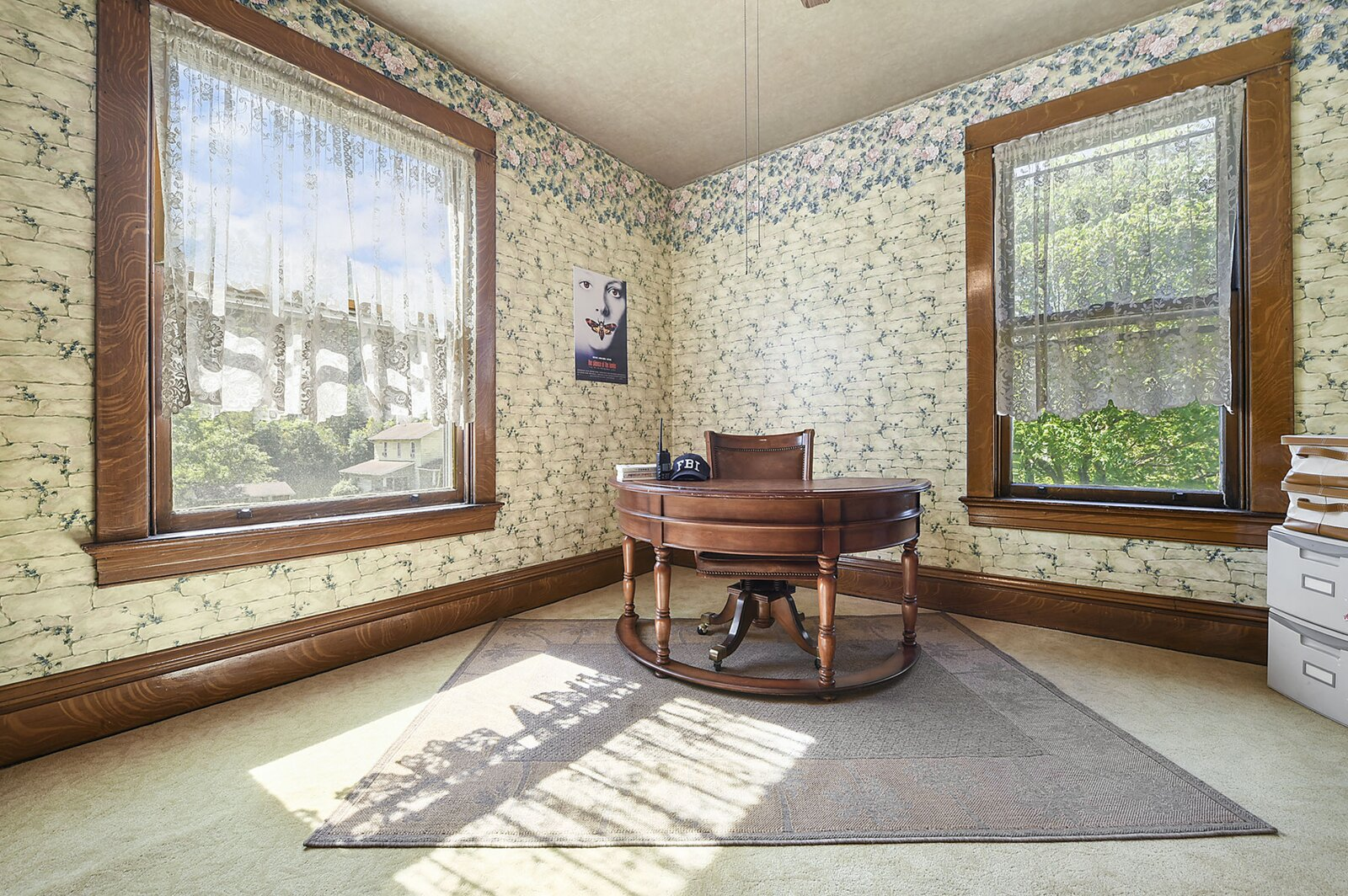 """Another of the bedrooms is currently staged as a home office.  Photo 14 of 23 in Hey, Horror Movie Buffs—You Can Own the """"Silence of the Lambs"""" House for $299K"""