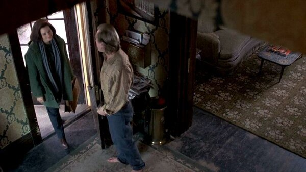 In another scene from the movie Jodie Foster's character is invited inside the home by Ted Levine's character, nicknamed