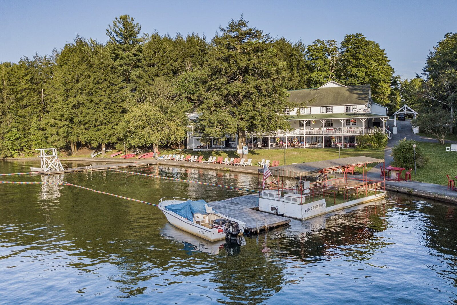 "The Scott's Family Resort in Deposit, New York, about three hours by car from New York City, was used for a 2018 episode of <i>The Marvelous Mrs. Maisel</i> titled ""We're Going to the Catskills!  Photo 2 of 16 in The Lakeside Resort Featured in ""The Marvelous Mrs. Maisel"" Lists for $6M in Upstate New York"