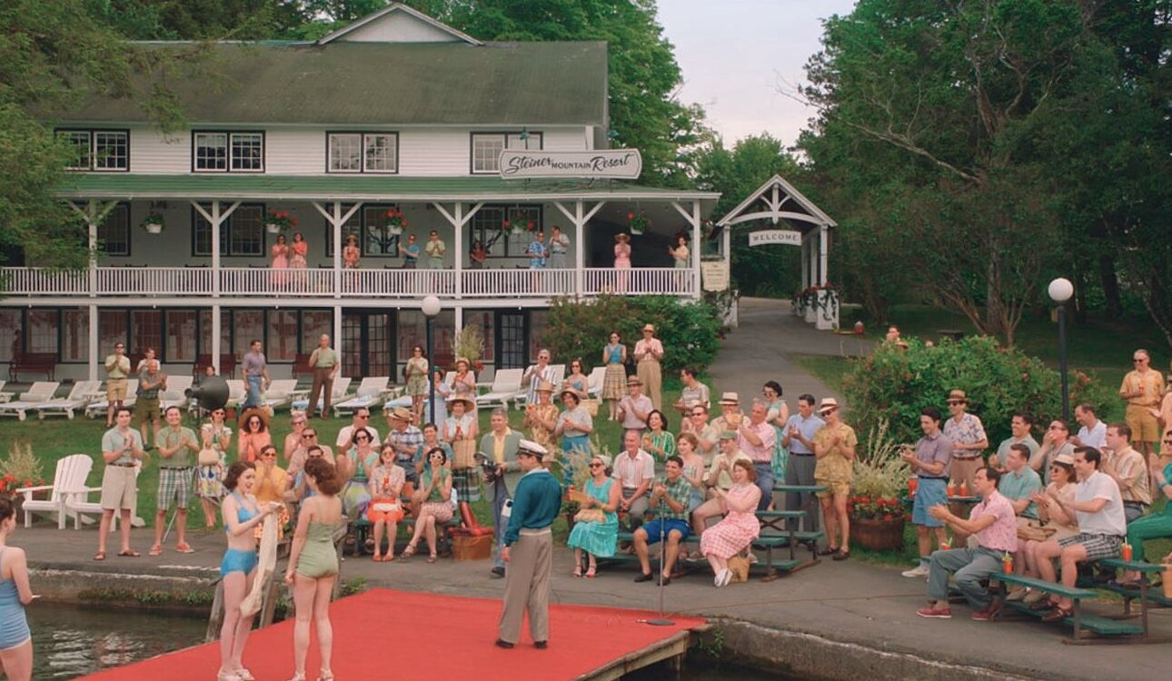 """In another scene, the summer's annual swimsuit contest is performed on the main dock.  Photo 9 of 16 in The Lakeside Resort Featured in """"The Marvelous Mrs. Maisel"""" Lists for $6M in Upstate New York"""