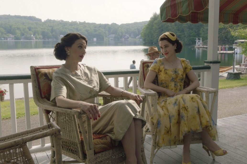 """Midge and her mother, Rose, sit on the lodge's front porch.  Photo 10 of 16 in The Lakeside Resort Featured in """"The Marvelous Mrs. Maisel"""" Lists for $6M in Upstate New York"""