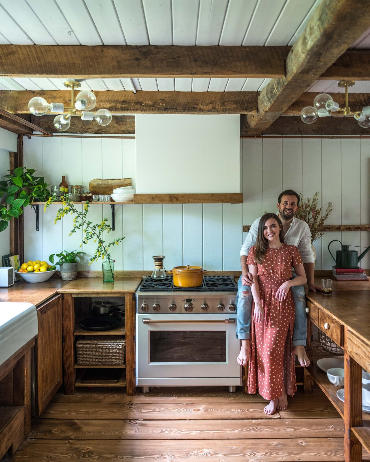 The Hunter Barnhouse by Danielle and Ely Franko kitchen with wood cabinets