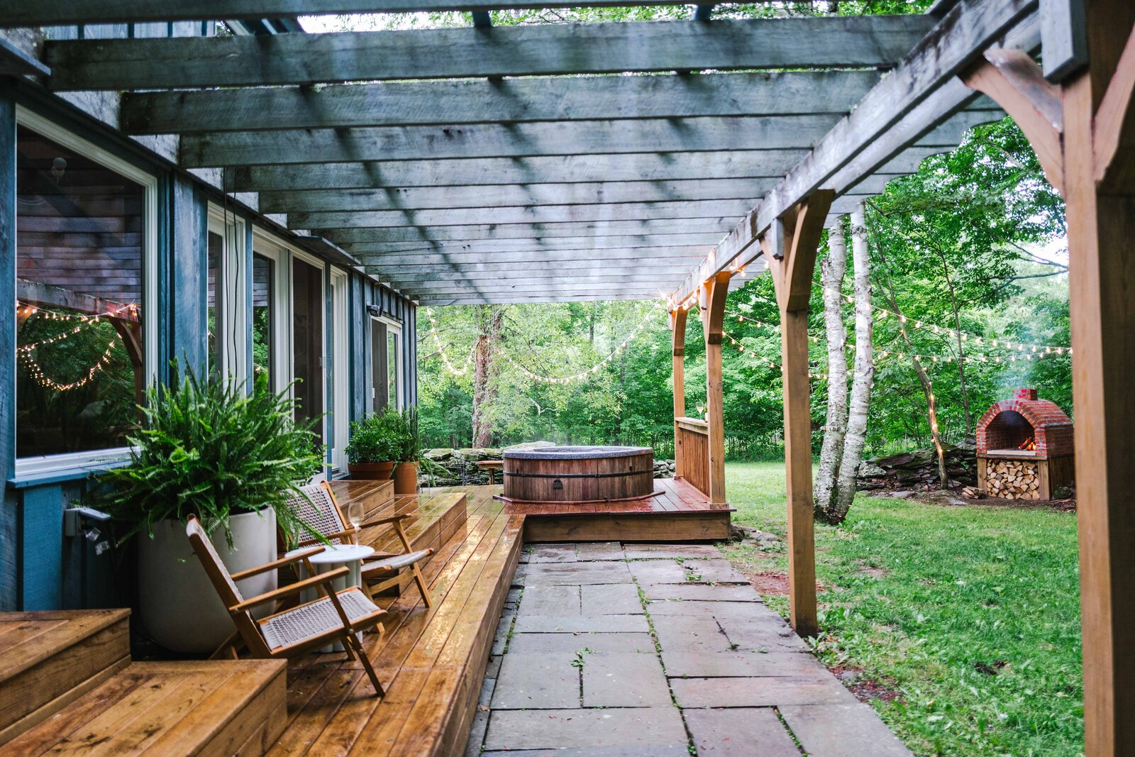 The Hunter Barnhouse by Danielle and Ely Franko deck and hot tub