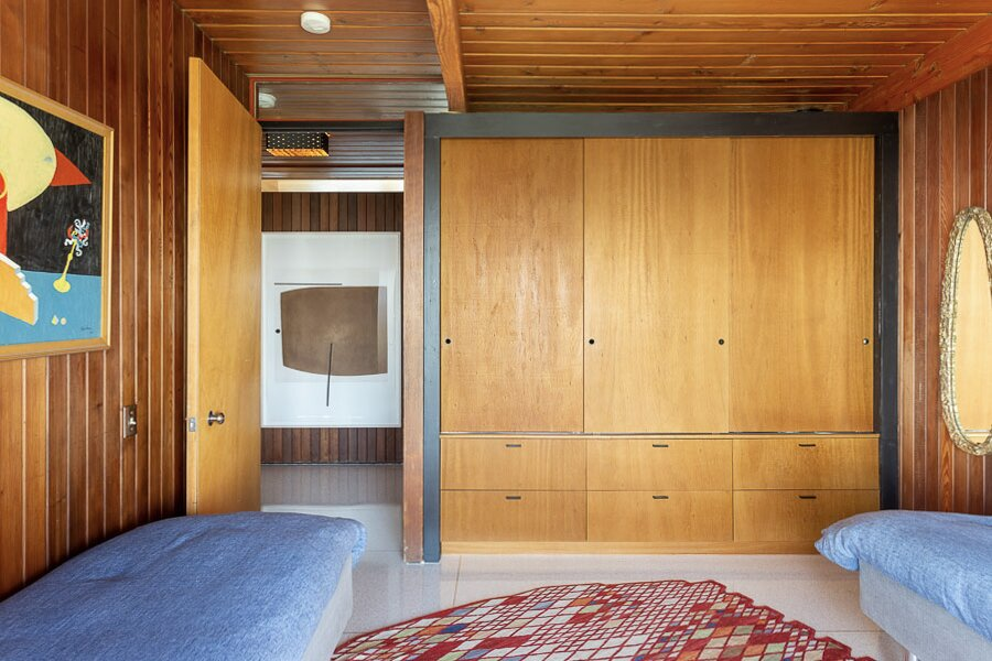 The third bedroom comes with built-in storage along one wall.  Photo 11 of 12 in An Impeccably Renovated Midcentury by Case Study Architect Craig Ellwood Asks $3.75M