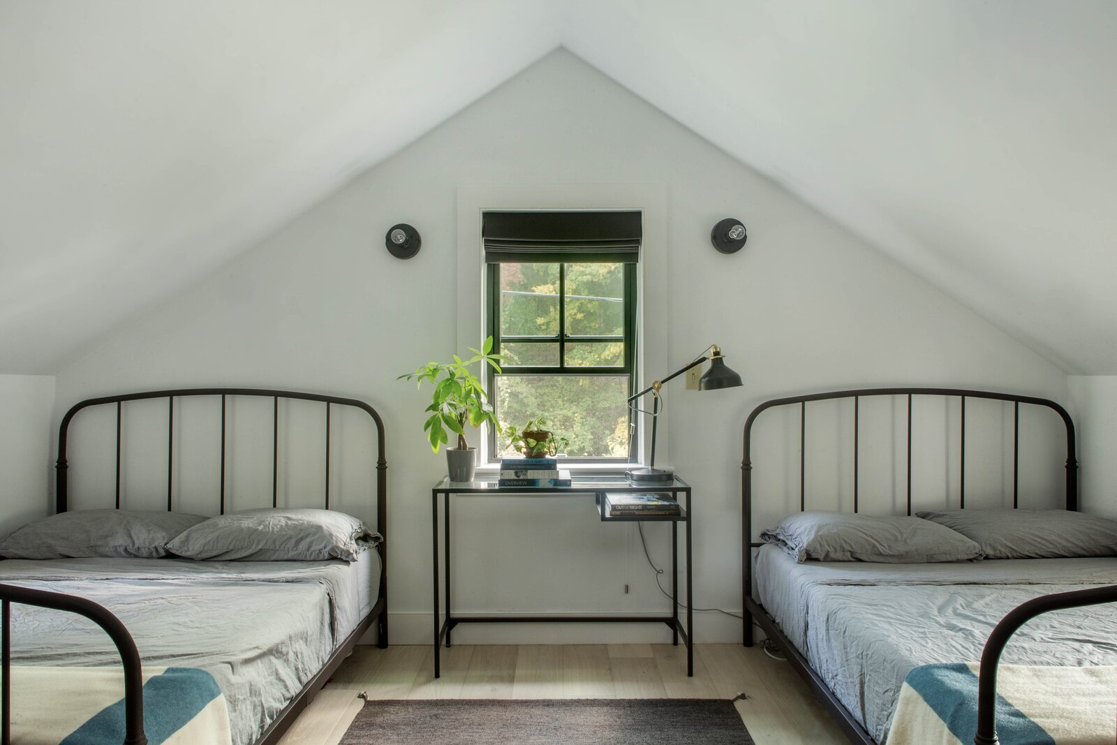 The bedroom offers enough space for two double beds.  Photo 9 of 14 in For $795K, This 1865 Greek Revival Farmhouse Could Be Your Escape From New York