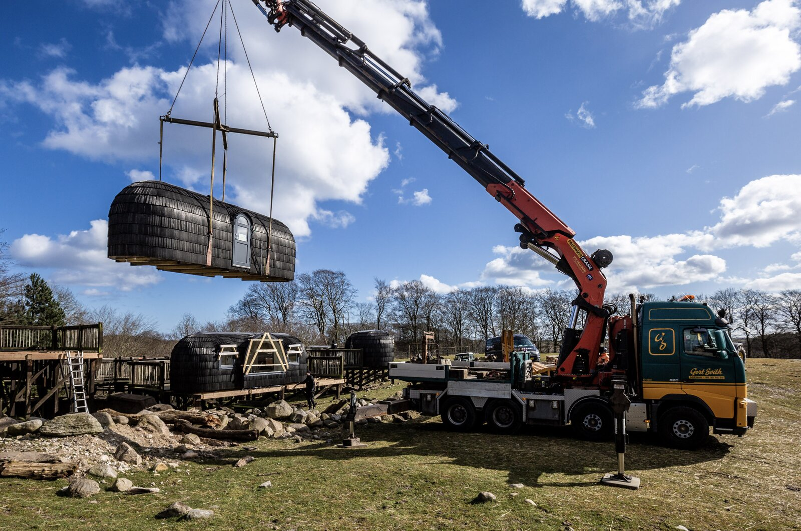 """With the elevated platforms built in advance, the on-site work largely required just setting each unit in place. """"These clients were very professional, with the knowhow and preparation,  Photo 7 of 9 in Spend the Night With Lions, Tigers, and Bears in These Prefab Glamping Pods"""