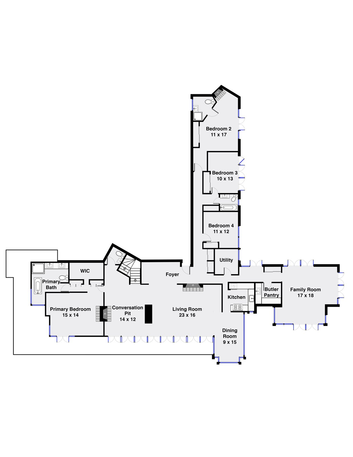 Carr House floor plan  Photo 17 of 17 in For the First Time Ever, This Winsome Illinois Home by Frank Lloyd Wright Is on the Market