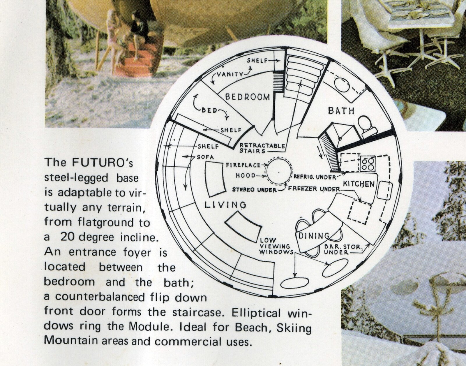 FUTURO flying saucer home floor plan