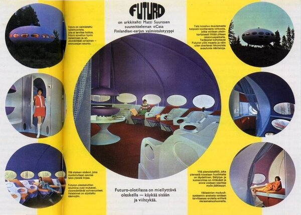An original FUTURO brochure shows the Finnish prototype designed by Suuronen. The company eventually licensed the structural design to international manufacturers, most of whom modified the interior to fit the taste of local consumers.