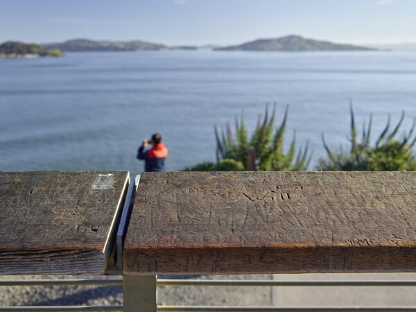 Engravings at the handrail of Fort Point Overlook.