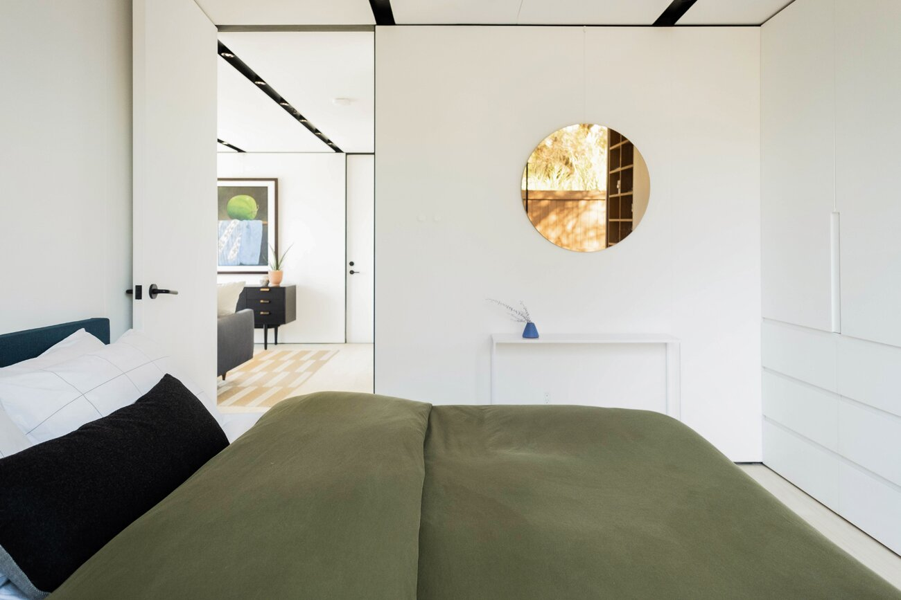Bedroom of Highland Park Prefab by Cover