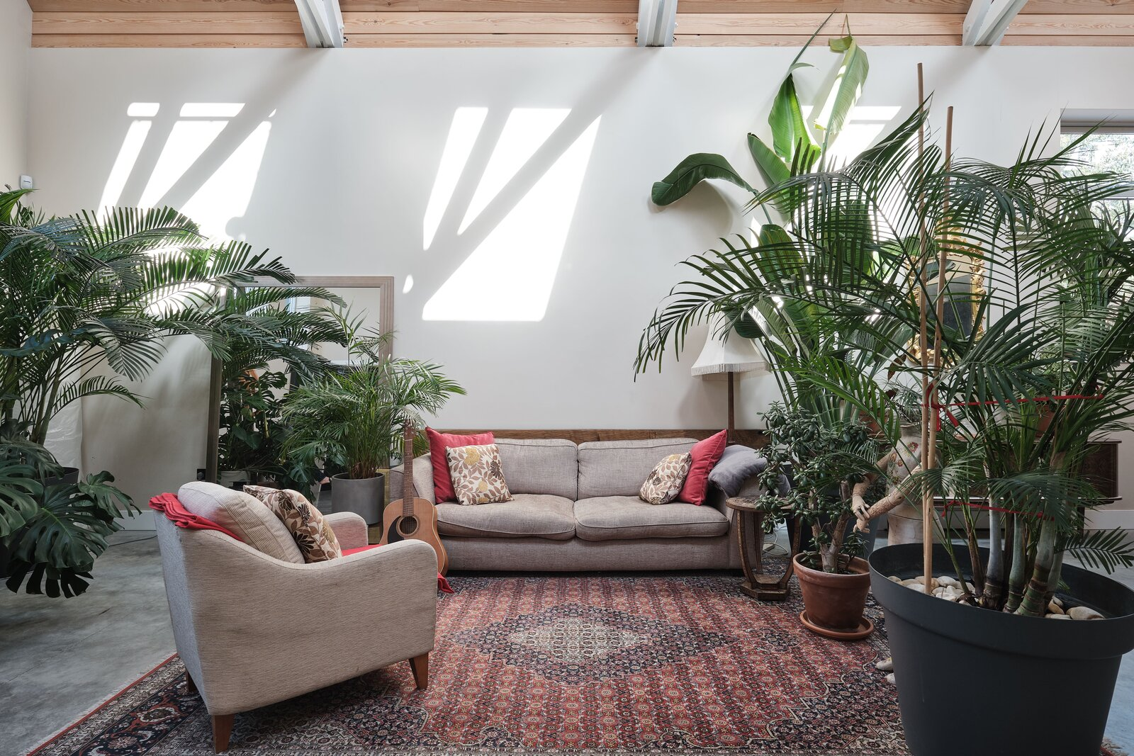 Large potted plants help to divide a seating area.  Photo 3 of 14 in This Former Chapel, Now a Heavenly Artist's Studio and Home, Lists for £1.6M