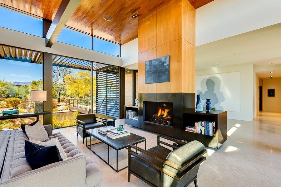 """The 48-foot-wide living area was constructed using four of the steel-frame modules that, like other spaces in the home, arrived with pre-finished floors, walls, doors, and fenestration.  Photo 4 of 12 in Asking $10.5M, This Desert Prefab by Marmol Radziner Doesn't Want for """"Wow"""" Factor"""