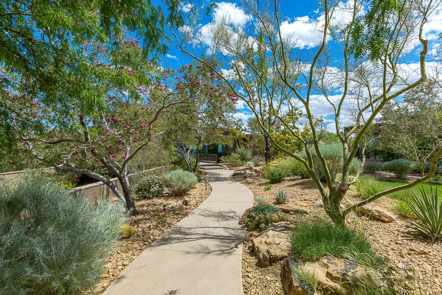 """Concrete paths wind throughout the property, past plantings of native species such as rubber rabbitbush, big galleta grass, Mormon tea, Apache plume, and many other varieties.  Photo 12 of 12 in Asking $10.5M, This Desert Prefab by Marmol Radziner Doesn't Want for """"Wow"""" Factor"""