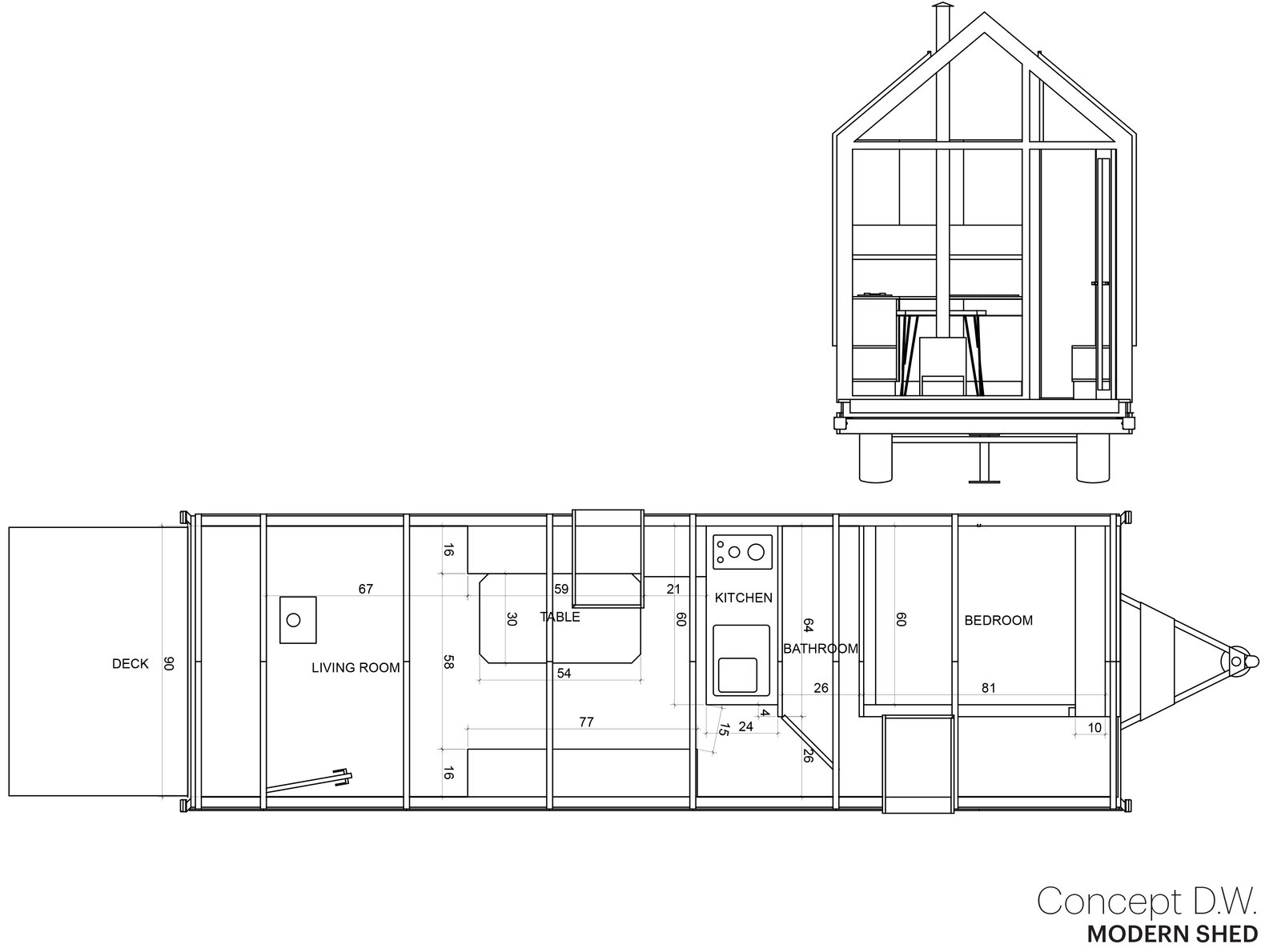 The DW standard floor plan  Photo 14 of 16 in Modern Shed Launches a Go-Anywhere, Do-Anything Tiny House That Starts at $129K