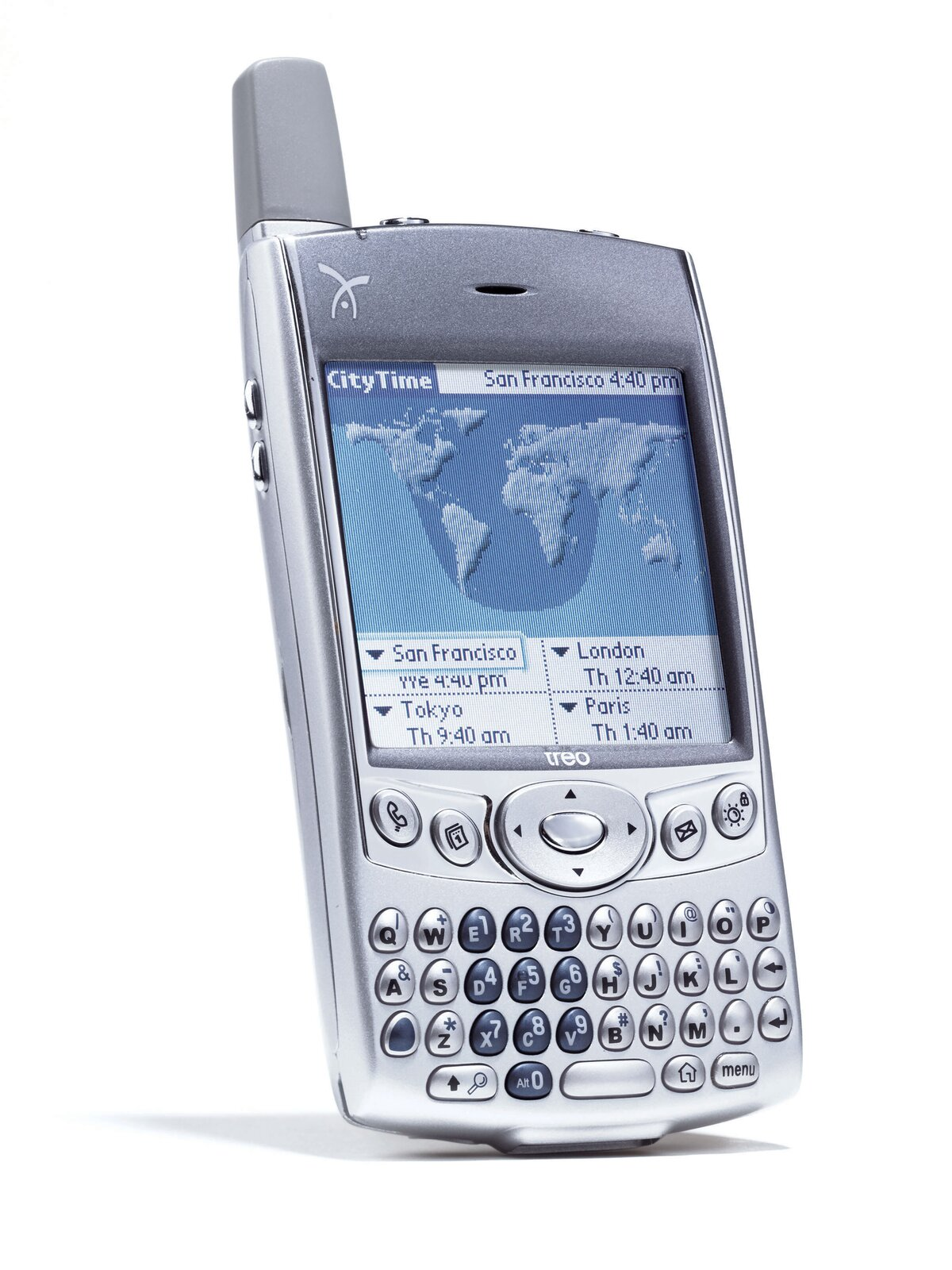 Includes speakerphone option, organizer, built-in camera, backlit keyboard, five-way navigation button, wireless We and email. Operates on Palm OS 5.2.1. 6.2 ounces, 4.4 x 2.4 x 0.9 inches.  Photo 2 of 6 in Inspecting Gadgets