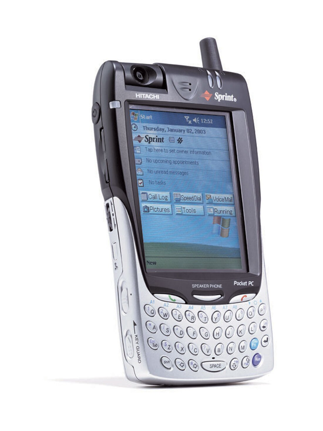 Speakerphone option, organizer, rotating camera, built-in keyboard, MP3 capability, touch screen and stylus, wireless Web and email. Operates on Microsoft Pocket Phone 2002 software. 8.4 ounces, 5.8 x 3.3 x 0.9 inches. Starts at $650.  Photo 5 of 6 in Inspecting Gadgets