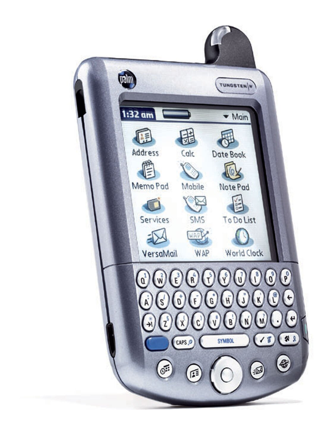 Built-in keyboard and five-way navigator button, stylus, and high-res color display. Organizer, headset phone, wireless Web and email capability. Operates with Palm OS 4.1.1. 6.5 ounces, 5.4 x 3.1 x .7 inches. Starts at $419.  Photo 6 of 6 in Inspecting Gadgets