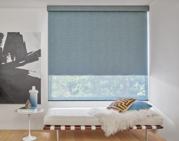 These shades from New York–based Hunter Douglas combine a light-filtering fabric and a black-out liner for varied levels of brightness. The shades' motorized system integrates with smart-home devices.